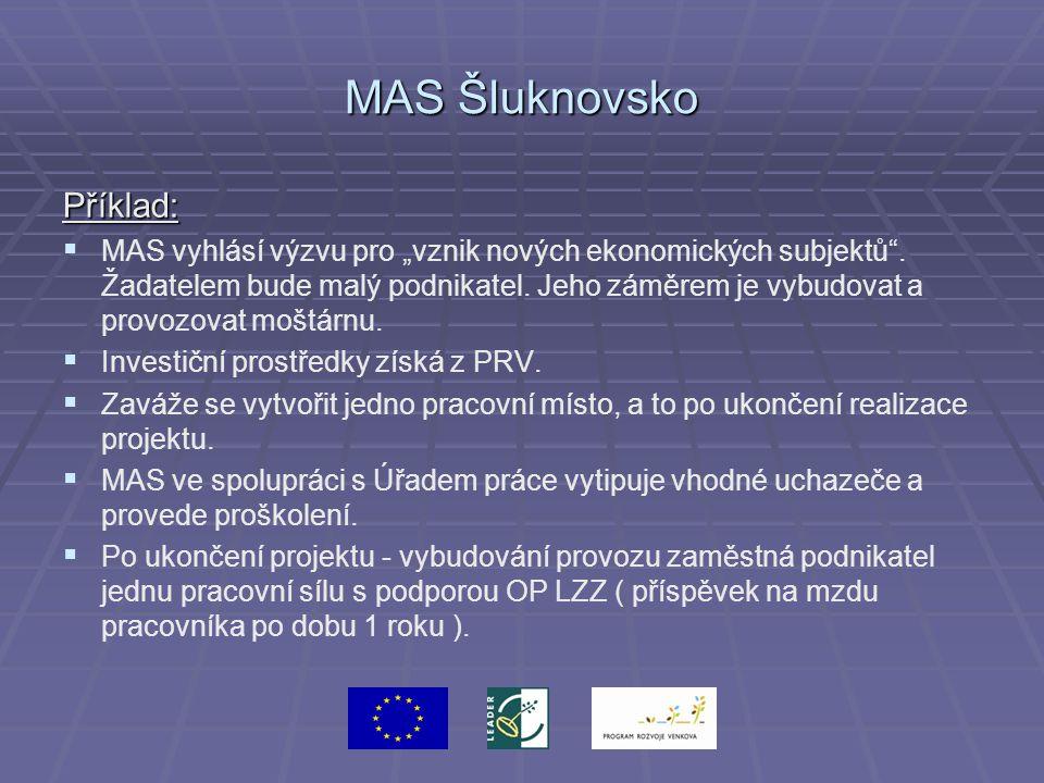 """MAS Šluknovsko Příklad:   MAS vyhlásí výzvu pro """"vznik nových ekonomických subjektů"""". Žadatelem bude malý podnikatel. Jeho záměrem je vybudovat a pr"""