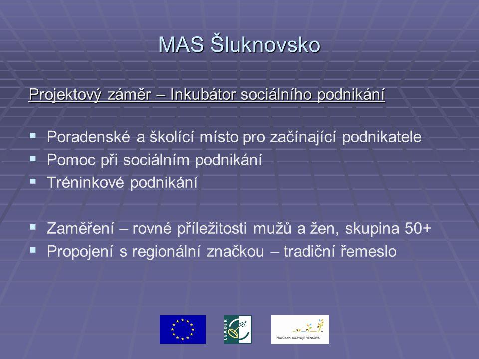 MAS Šluknovsko Projektový záměr – Inkubátor sociálního podnikání   Poradenské a školící místo pro začínající podnikatele   Pomoc při sociálním pod