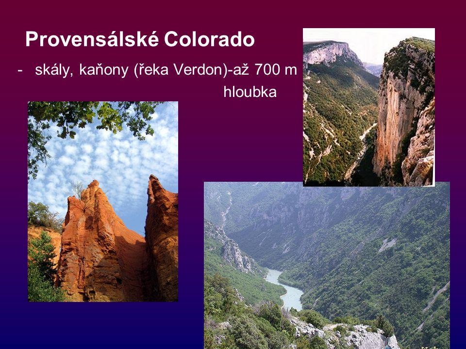 Provensálské Colorado -skály, kaňony (řeka Verdon)-až 700 m hloubka