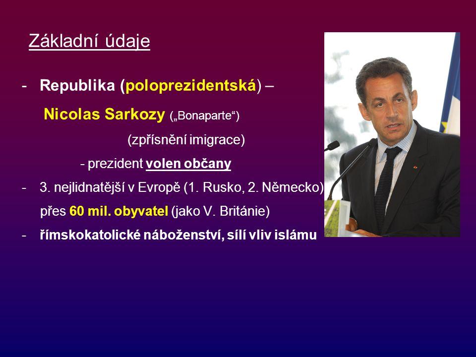 """Základní údaje -Republika (poloprezidentská) – Nicolas Sarkozy (""""Bonaparte"""") (zpřísnění imigrace) - prezident volen občany -3. nejlidnatější v Evropě"""