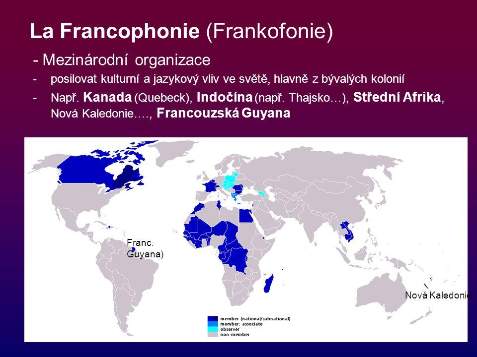 La Francophonie (Frankofonie) - Mezinárodní organizace -posilovat kulturní a jazykový vliv ve světě, hlavně z bývalých kolonií -Např. Kanada (Quebeck)
