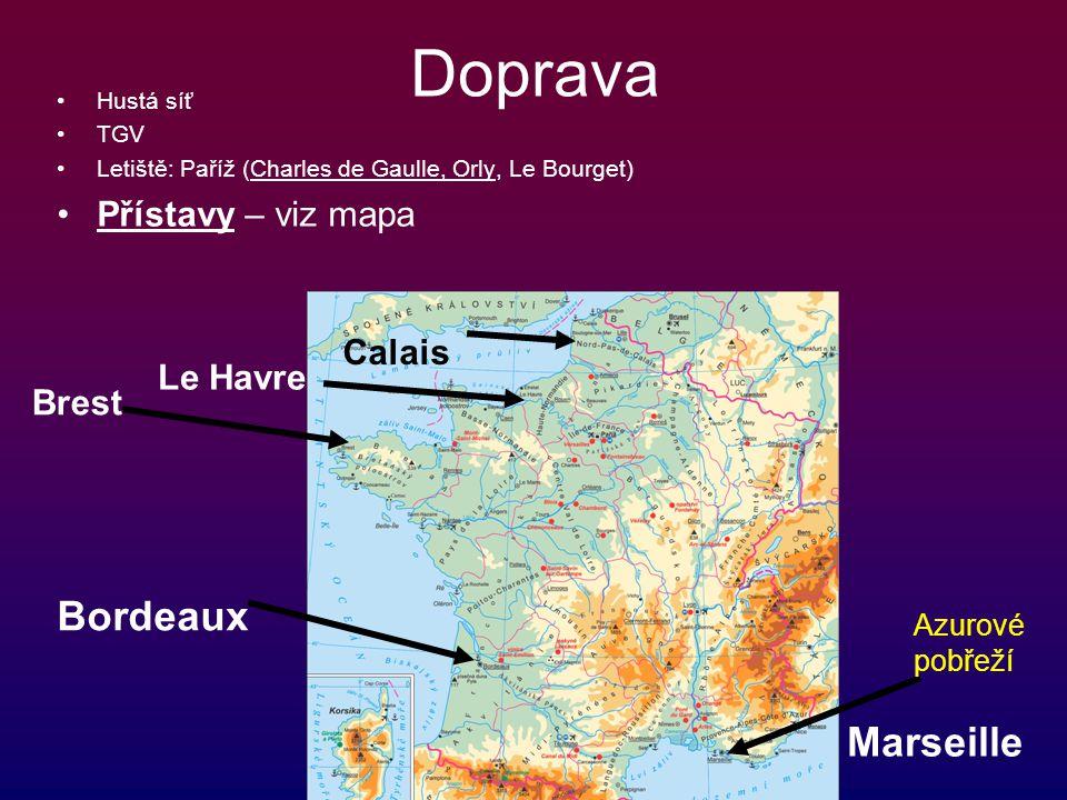 Doprava Hustá síť TGV Letiště: Paříž (Charles de Gaulle, Orly, Le Bourget) Přístavy – viz mapa Marseille Bordeaux Brest Le Havre Calais Azurové pobřež