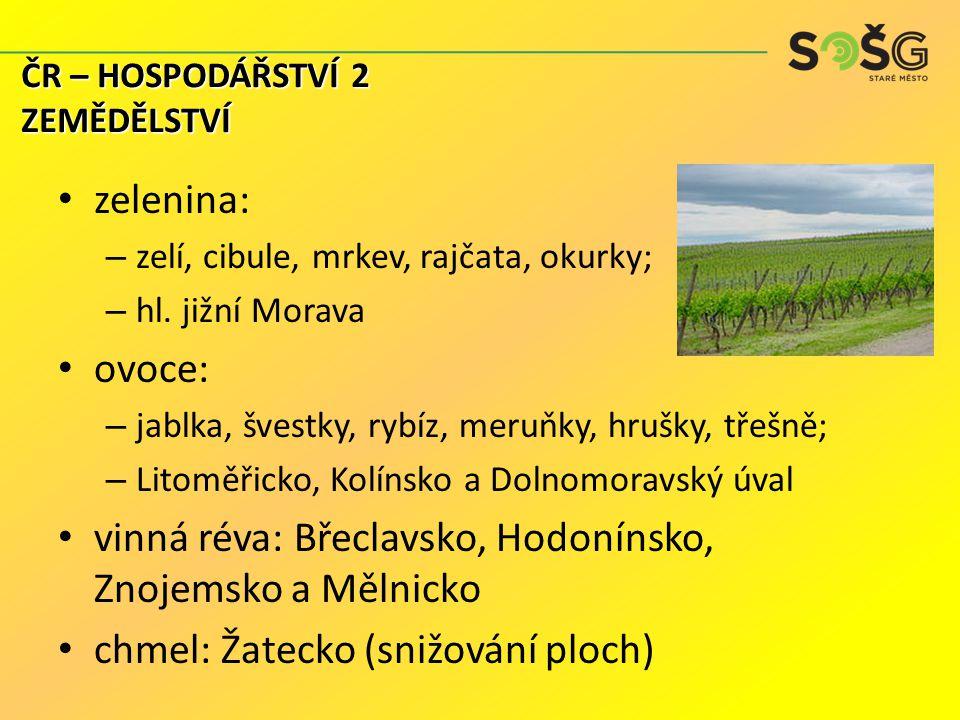 zelenina: – zelí, cibule, mrkev, rajčata, okurky; – hl. jižní Morava ovoce: – jablka, švestky, rybíz, meruňky, hrušky, třešně; – Litoměřicko, Kolínsko