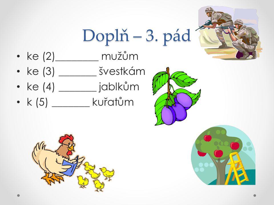 Doplň – 3. pád ke (2)________ mužům ke (3) _______ švestkám ke (4) _______ jablkům k (5) _______ kuřatům
