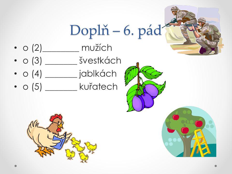 Doplň – 6. pád o (2)________ mužích o (3) _______ švestkách o (4) _______ jablkách o (5) _______ kuřatech