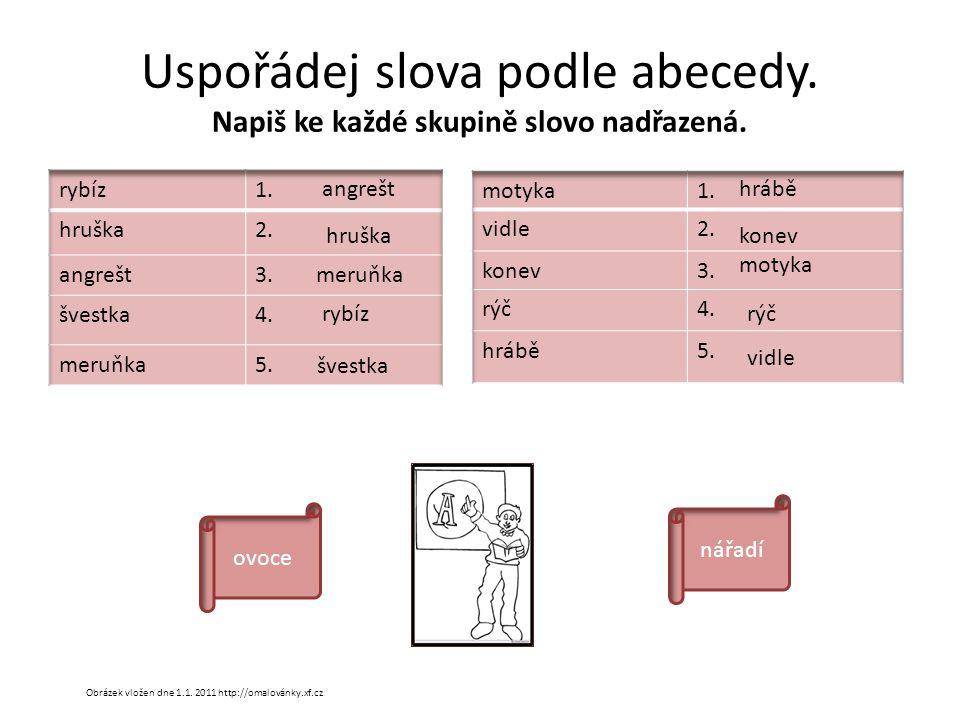 Uspořádej slova podle abecedy. Napiš ke každé skupině slovo nadřazená.
