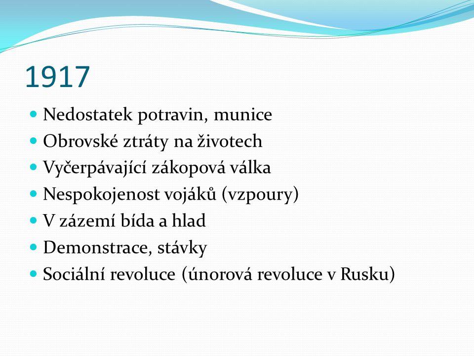 1917 Nedostatek potravin, munice Obrovské ztráty na životech Vyčerpávající zákopová válka Nespokojenost vojáků (vzpoury) V zázemí bída a hlad Demonstrace, stávky Sociální revoluce (únorová revoluce v Rusku)