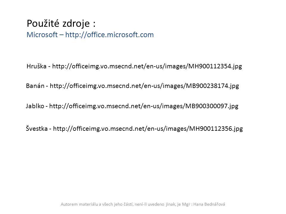 Jablko - http://officeimg.vo.msecnd.net/en-us/images/MB900300097.jpg Banán - http://officeimg.vo.msecnd.net/en-us/images/MB900238174.jpg Hruška - http://officeimg.vo.msecnd.net/en-us/images/MH900112354.jpg Švestka - http://officeimg.vo.msecnd.net/en-us/images/MH900112356.jpg Použité zdroje : Microsoft – http://office.microsoft.com Autorem materiálu a všech jeho částí, není-li uvedeno jinak, je Mgr : Hana Bednářová