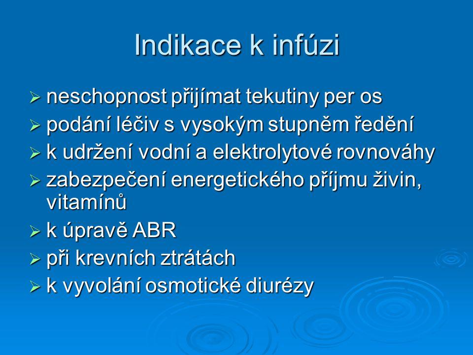 Indikace k infúzi  neschopnost přijímat tekutiny per os  podání léčiv s vysokým stupněm ředění  k udržení vodní a elektrolytové rovnováhy  zabezpe