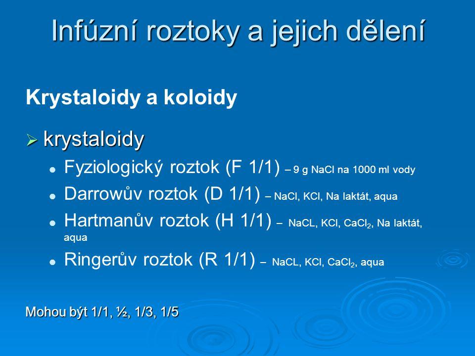Infúzní roztoky a jejich dělení Krystaloidy a koloidy  krystaloidy Fyziologický roztok (F 1/1) – 9 g NaCl na 1000 ml vody Darrowův roztok (D 1/1) – N