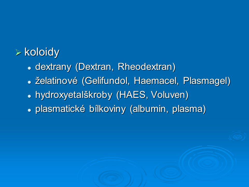 koloidy dextrany (Dextran, Rheodextran) dextrany (Dextran, Rheodextran) želatinové (Gelifundol, Haemacel, Plasmagel) želatinové (Gelifundol, Haemace