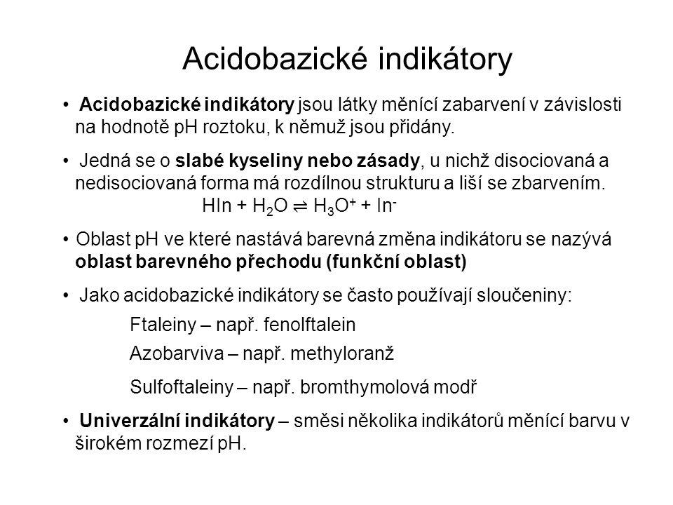 Acidobazické indikátory Acidobazické indikátory jsou látky měnící zabarvení v závislosti na hodnotě pH roztoku, k němuž jsou přidány. Jedná se o slabé
