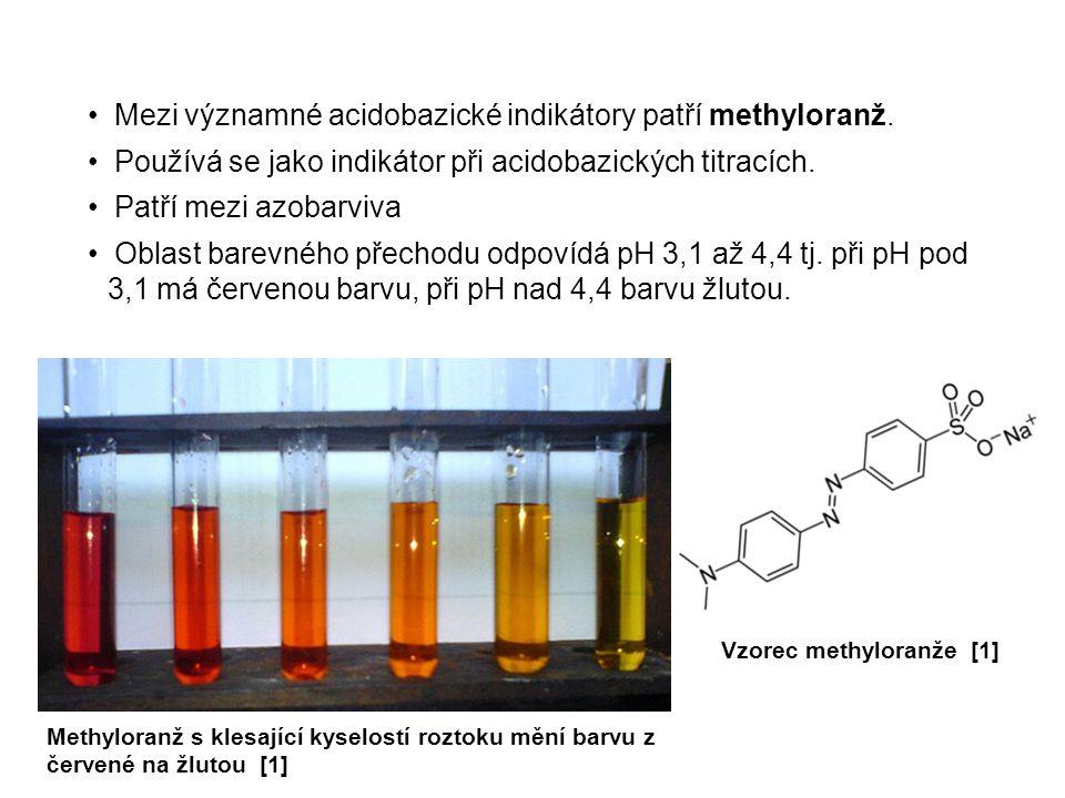 Methylčerveň patří mezi azobarviva.Oblast barevného přechodu odpovídá pH 4,2 až 6,3 tj.