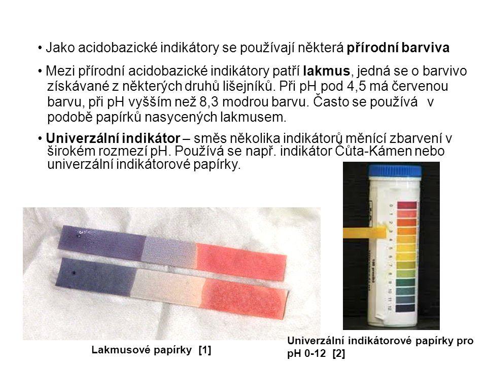 Jako acidobazické indikátory se používají některá přírodní barviva Mezi přírodní acidobazické indikátory patří lakmus, jedná se o barvivo získávané z