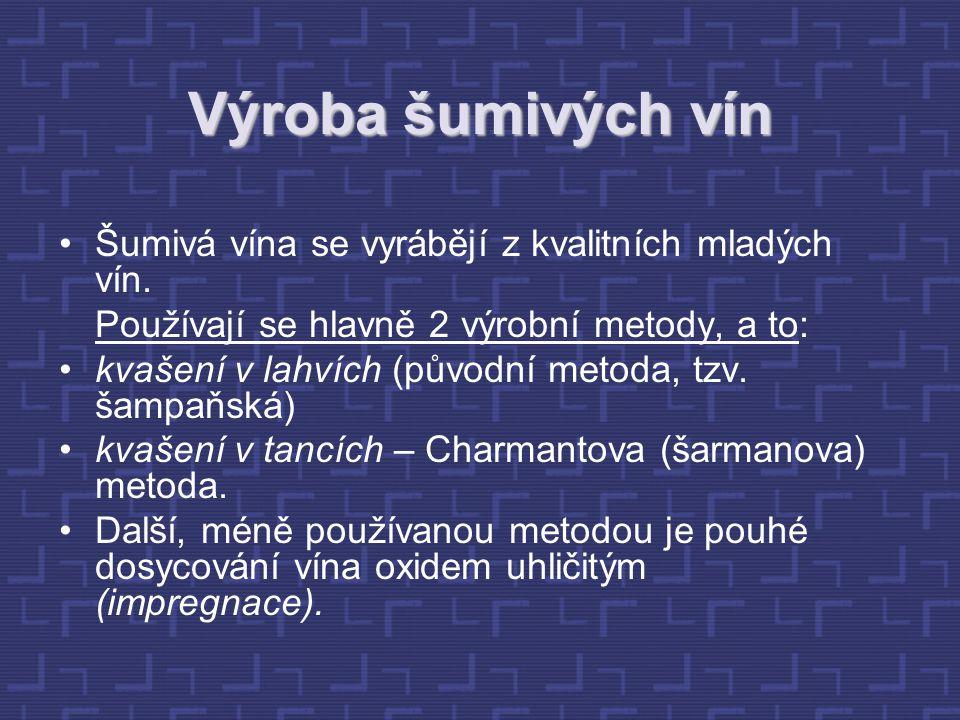 Výroba šumivých vín Šumivá vína se vyrábějí z kvalitních mladých vín. Používají se hlavně 2 výrobní metody, a to: kvašení v lahvích (původní metoda, t