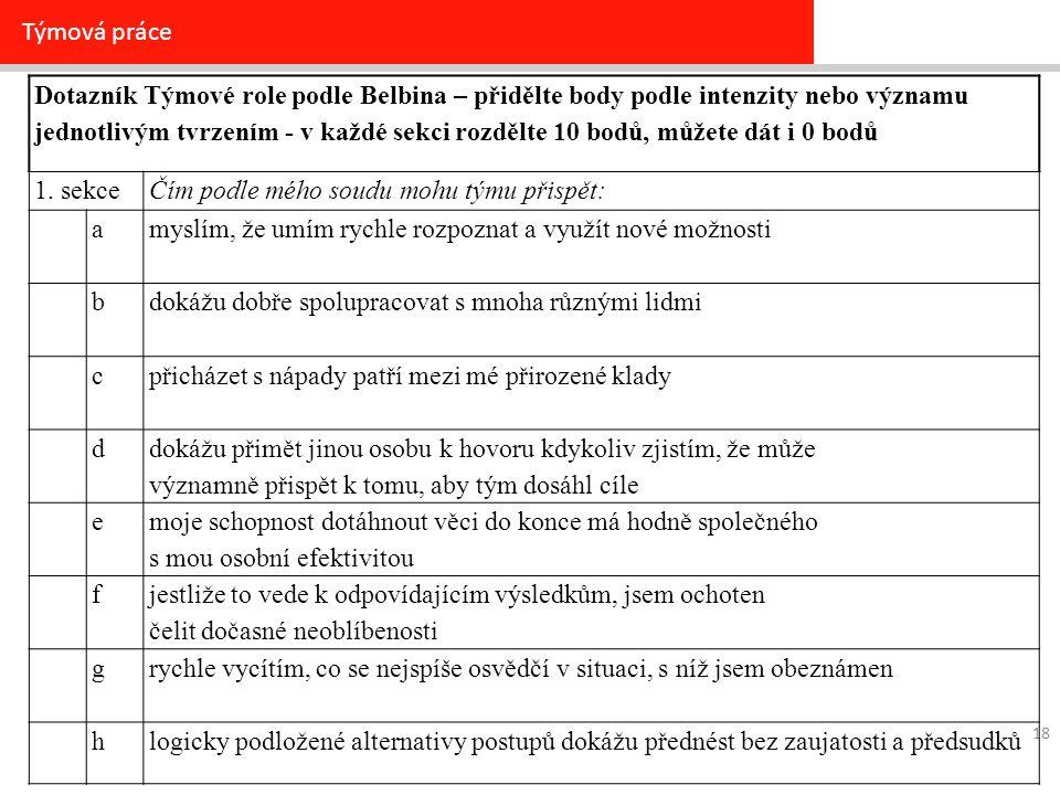 Týmová práce 18 Dotazník Týmové role podle Belbina – přidělte body podle intenzity nebo významu jednotlivým tvrzením - v každé sekci rozdělte 10 bodů, můžete dát i 0 bodů 1.