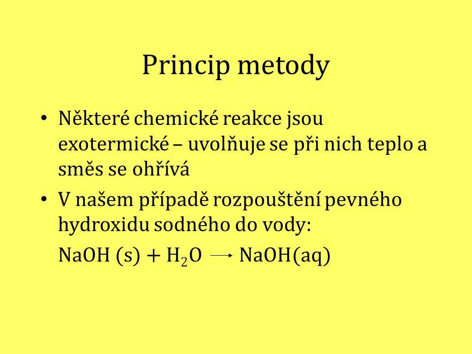 Princip metody Některé chemické reakce jsou exotermické – uvolňuje se při nich teplo a směs se ohřívá V našem případě rozpouštění pevného hydroxidu sodného do vody: NaOH (s) + H 2 O NaOH(aq)
