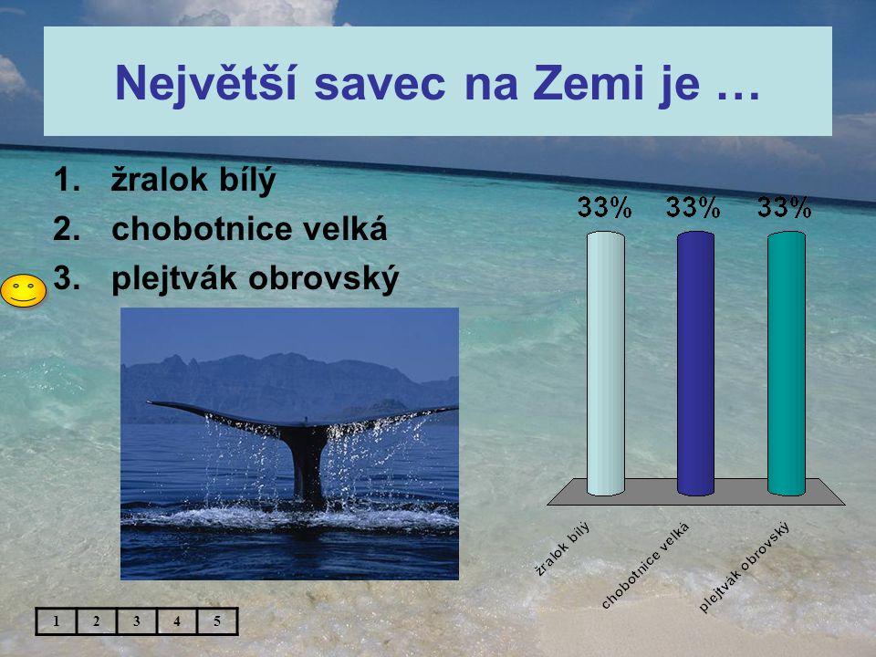 Největší savec na Zemi je … 1.žralok bílý 2.chobotnice velká 3.plejtvák obrovský 12345