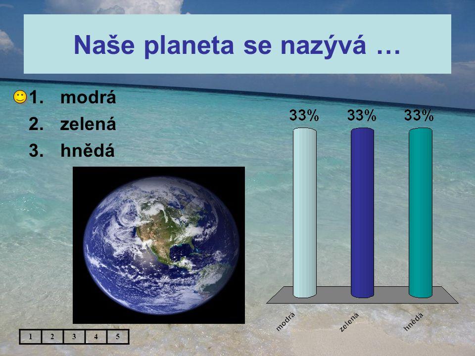 Naše planeta se nazývá … 12345 1.modrá 2.zelená 3.hnědá