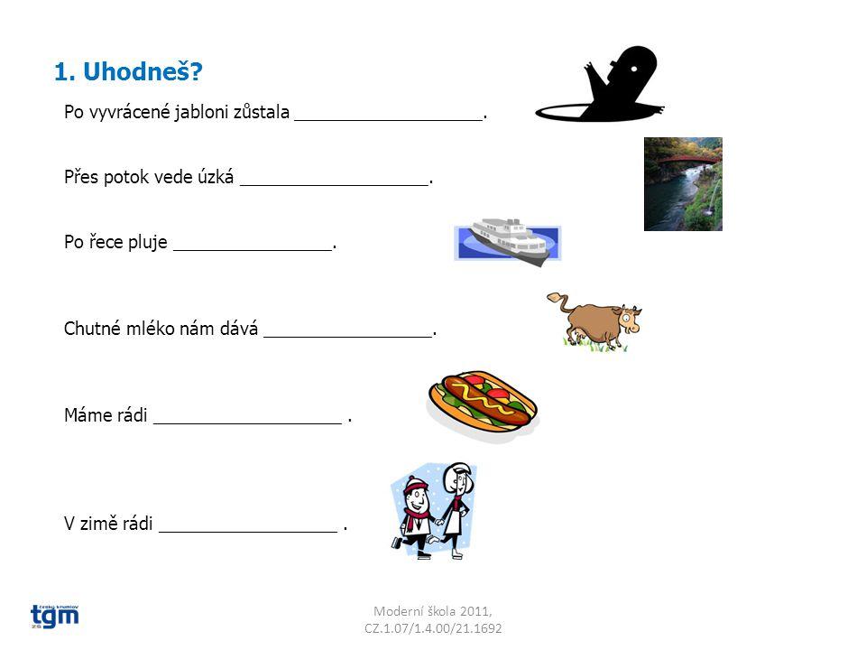 C Moderní škola 2011, CZ.1.07/1.4.00/21.1692 2. Najdi co nejvíce slov, odděl je a napiš na řádek.