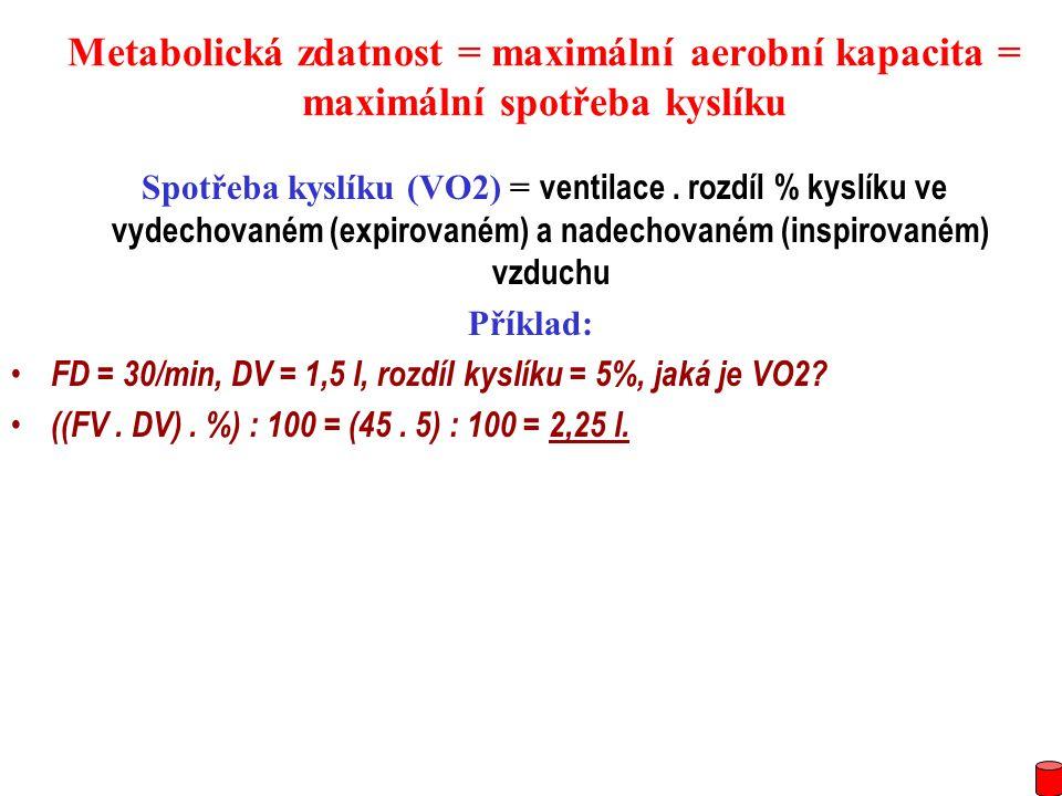 Metabolická zdatnost = maximální aerobní kapacita = maximální spotřeba kyslíku Spotřeba kyslíku (VO2) = ventilace. rozdíl % kyslíku ve vydechovaném (e