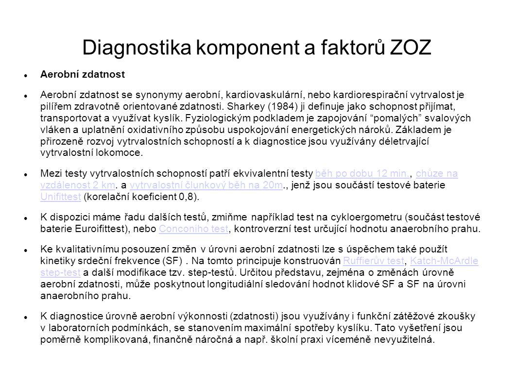 Diagnostika komponent a faktorů ZOZ Aerobní zdatnost Aerobní zdatnost se synonymy aerobní, kardiovaskulární, nebo kardiorespirační vytrvalost je pilíř