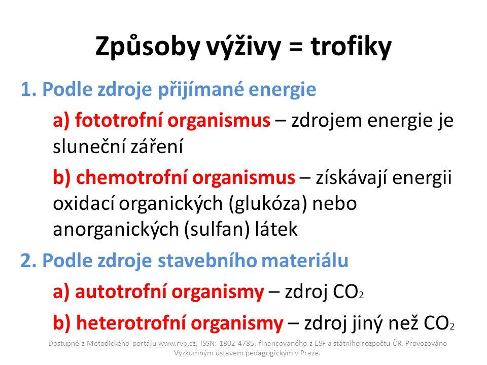 Způsoby výživy = trofiky 1. Podle zdroje přijímané energie a) fototrofní organismus – zdrojem energie je sluneční záření b) chemotrofní organismus – z