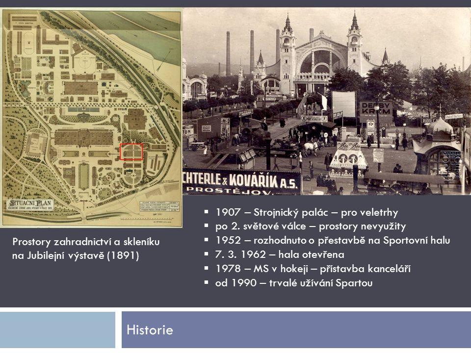 Historie Prostory zahradnictví a skleníku na Jubilejní výstavě (1891)  1907 – Strojnický palác – pro veletrhy  po 2. světové válce – prostory nevyuž