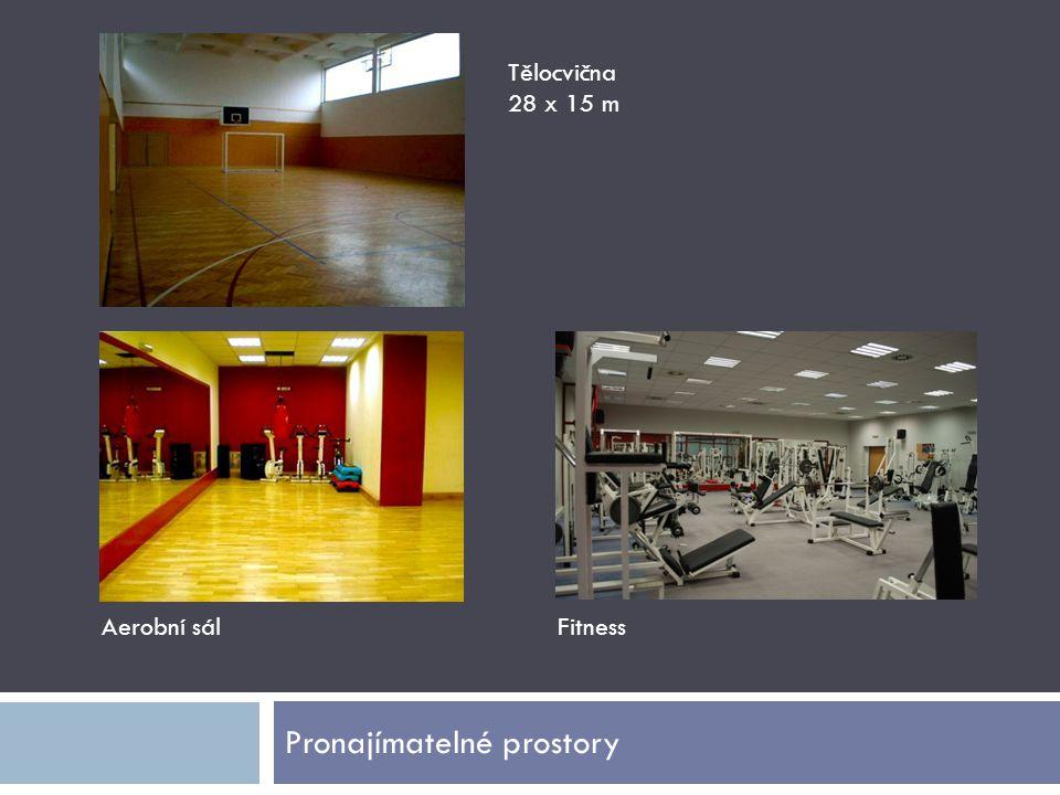 Pronajímatelné prostory Tělocvična 28 x 15 m Aerobní sálFitness