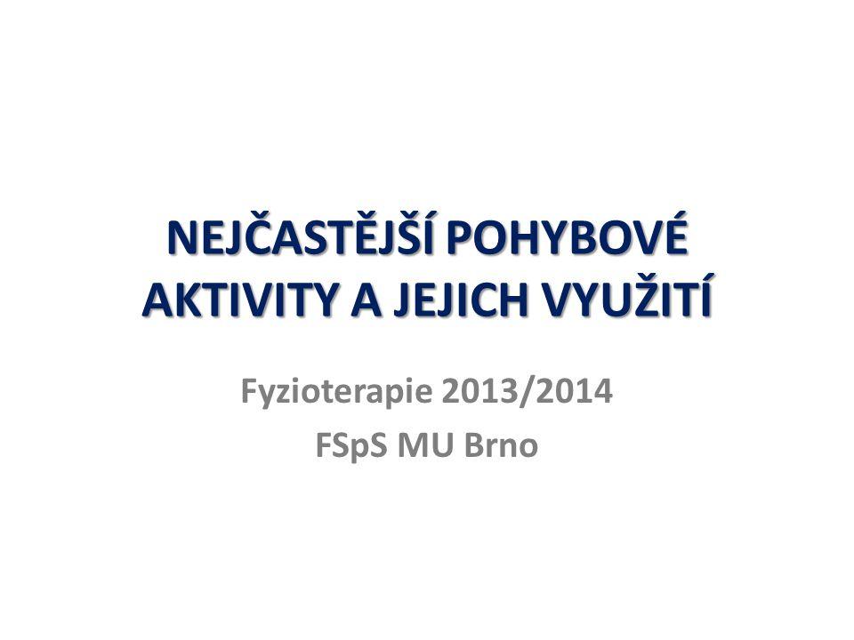 NEJČASTĚJŠÍ POHYBOVÉ AKTIVITY A JEJICH VYUŽITÍ Fyzioterapie 2013/2014 FSpS MU Brno
