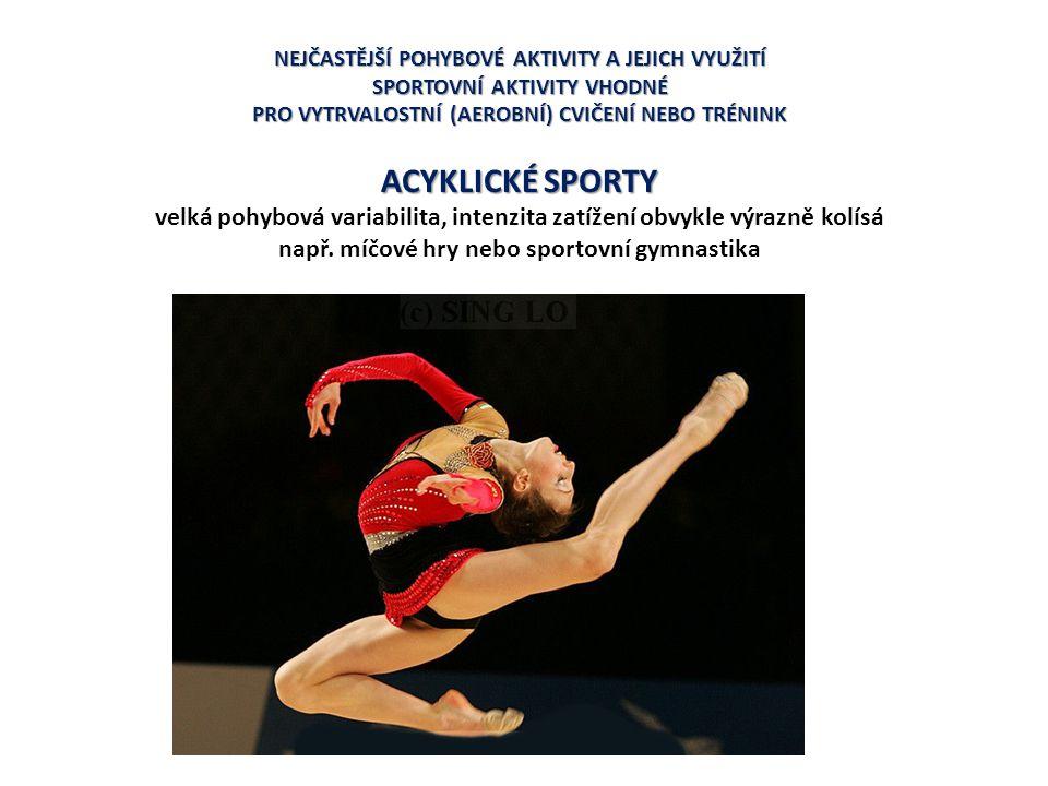 AEROBNÍ POHYBOVÉ AKTIVITY Vytrvalostní (silniční cyklistika, vytrvalostní běhy, běh na lyžích, ale i většina míčových her) Cyklické (chůze, běh, plavání, chůze nebo běh na lyžích, atd.) Acyklické (míčové hry) V první fázi programu pohybové aktivity V dalších fázích programu pohybové aktivity