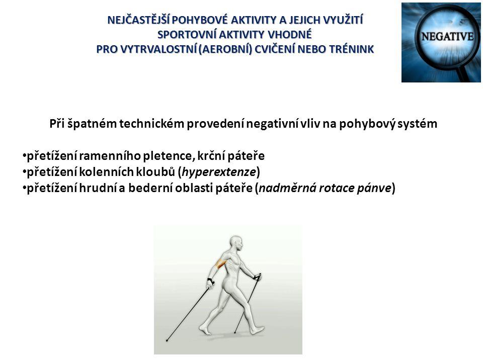 Při špatném technickém provedení negativní vliv na pohybový systém přetížení ramenního pletence, krční páteře přetížení kolenních kloubů (hyperextenze