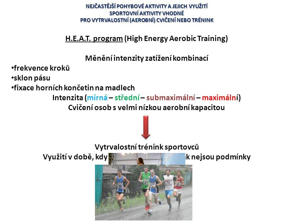 NEJČASTĚJŠÍ POHYBOVÉ AKTIVITY A JEJICH VYUŽITÍ SPORTOVNÍ AKTIVITY VHODNÉ PRO VYTRVALOSTNÍ (AEROBNÍ) CVIČENÍ NEBO TRÉNINK H.E.A.T. program (High Energy