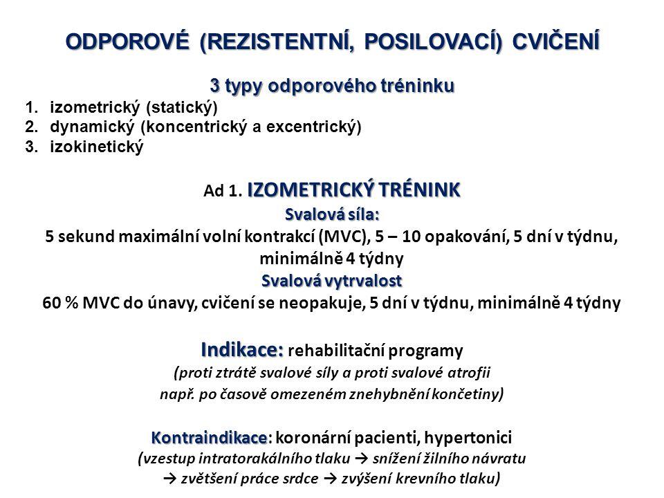 ODPOROVÉ (REZISTENTNÍ, POSILOVACÍ) CVIČENÍ 3 typy odporového tréninku 1.izometrický (statický) 2.dynamický (koncentrický a excentrický) 3.izokinetický