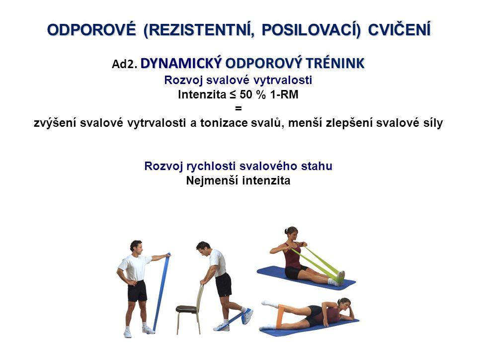 ODPOROVÉ (REZISTENTNÍ, POSILOVACÍ) CVIČENÍ DYNAMICKÝ ODPOROVÝ TRÉNINK Ad2. DYNAMICKÝ ODPOROVÝ TRÉNINK Rozvoj svalové vytrvalosti Intenzita ≤ 50 % 1-RM