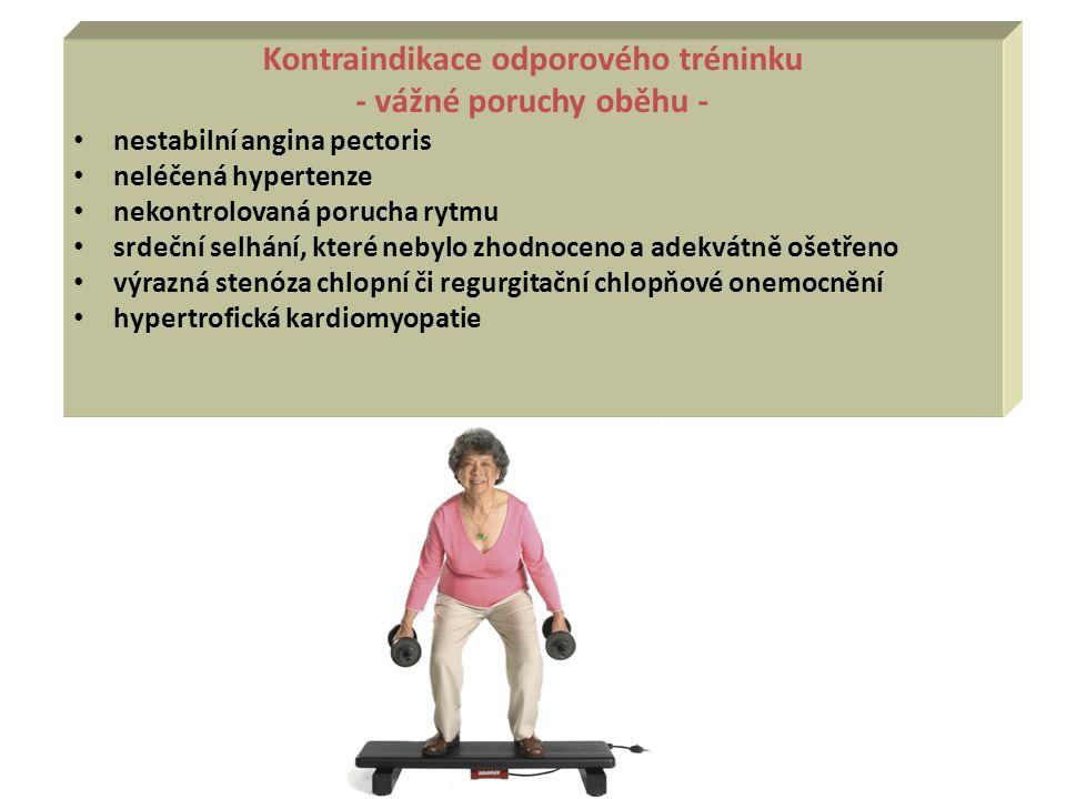 Kontraindikace odporového tréninku - vážné poruchy oběhu - nestabilní angina pectoris neléčená hypertenze nekontrolovaná porucha rytmu srdeční selhání
