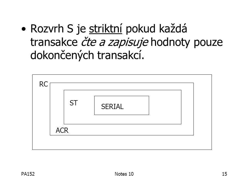 PA152Notes 1015 Rozvrh S je striktní pokud každá transakce čte a zapisuje hodnoty pouze dokončených transakcí.