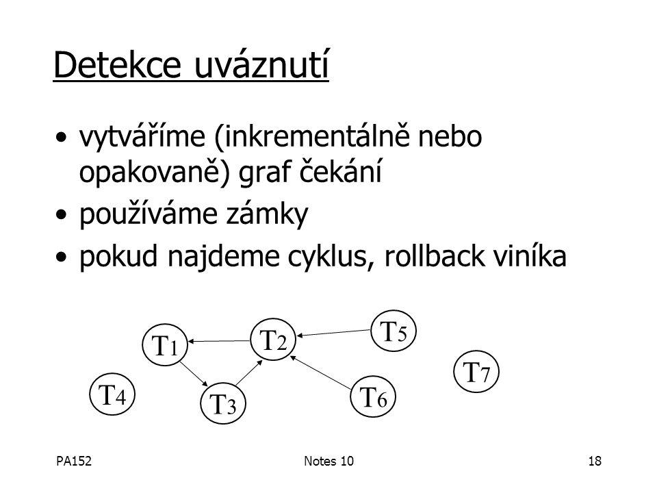PA152Notes 1018 Detekce uváznutí vytváříme (inkrementálně nebo opakovaně) graf čekání používáme zámky pokud najdeme cyklus, rollback viníka T1T1 T3T3 T2T2 T6T6 T5T5 T4T4 T7T7