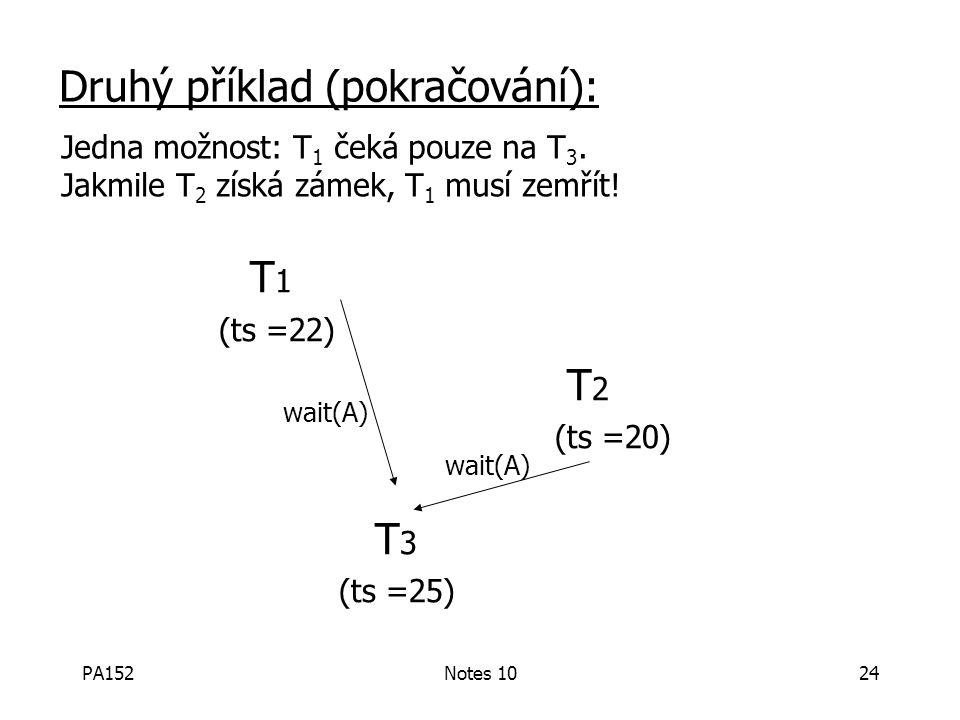 PA152Notes 1024 T 1 (ts =22) T 2 (ts =20) T 3 (ts =25) wait(A) Druhý příklad (pokračování): wait(A) Jedna možnost: T 1 čeká pouze na T 3.