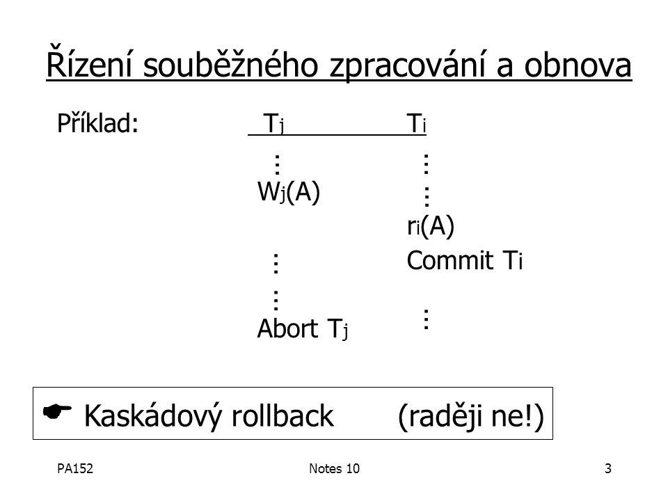 PA152Notes 103 Příklad: T j T i W j (A) r i (A) Commit T i Abort T j Řízení souběžného zpracování a obnova … … … … … …  Kaskádový rollback (raději ne!)