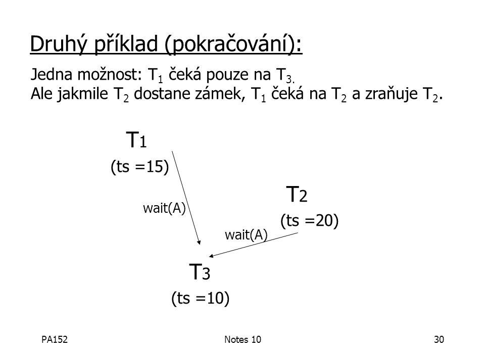 PA152Notes 1030 T 1 (ts =15) T 2 (ts =20) T 3 (ts =10) wait(A) Druhý příklad (pokračování): wait(A) Jedna možnost: T 1 čeká pouze na T 3.
