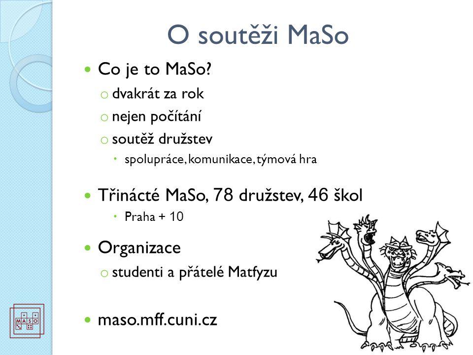 O soutěži MaSo Co je to MaSo? o dvakrát za rok o nejen počítání o soutěž družstev  spolupráce, komunikace, týmová hra Třinácté MaSo, 78 družstev, 46