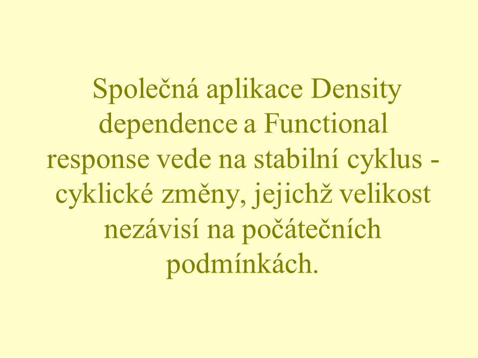 Společná aplikace Density dependence a Functional response vede na stabilní cyklus - cyklické změny, jejichž velikost nezávisí na počátečních podmínká