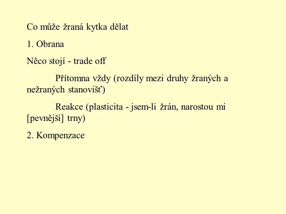 Obrana rostliny * Tuhost listů (existují teorie, že jednoděložný jsou míň žraný hustým žilkám) * Trny (spíš na velký herbivory) * Chlupy (spíš na invertebrátní) - žahavý chlupy ale i na velký * Krystaly (šťavelan vápenatý, uhličitan vápenatý, oxid křemičitý) * Mléčnice (zalepí hubu) * Jedy (nebílkovinné aminokyseliny, alkaloidy, kyanogeny, phenolické látky, terpeny) * Mravenci jako ochrana (domacia, extraflorální nektária) * Semenné roky