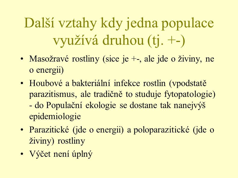 Klasika dravec kořist (L-V) V nejjednodušší formě: Dravec P (predator), kořist nebo oběť V (victim): tučně jsou proměnlivé charakteristiky dV/dt=(b V -m V )V = b V V - m V V dP/dt=(b P -m P )P= b P P - m P P tedy: kořist: natalita je konstantní, a je žrána.