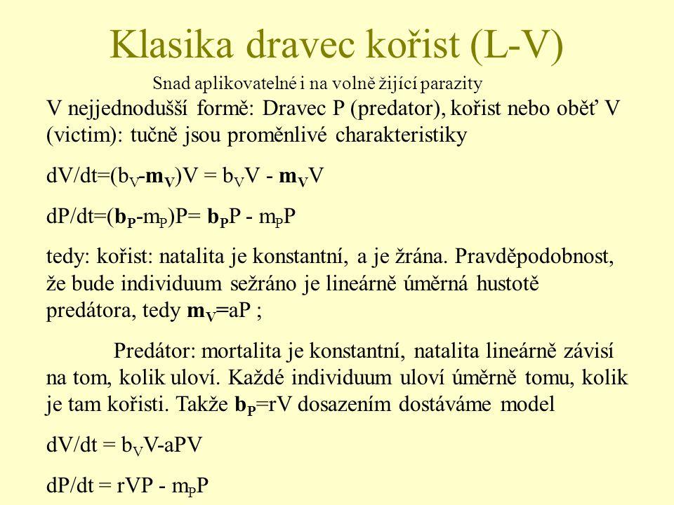 dV/dt = b V V-aPV dP/dt = rVP - m P P Množství ulovené kořisti je aPV.