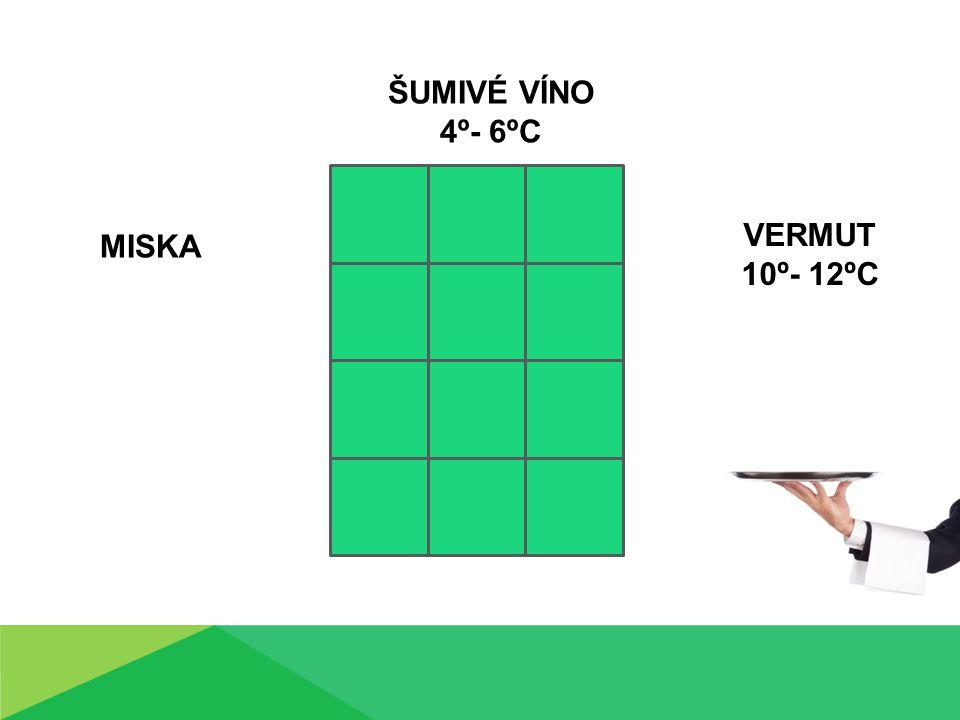 MISKA ŠUMIVÉ VÍNO 4º- 6ºC VERMUT 10º- 12ºC