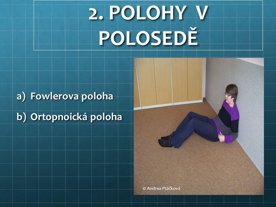 2. POLOHY V POLOSEDĚ a)Fowlerova poloha b)Ortopnoická poloha © Andrea Ptáčková