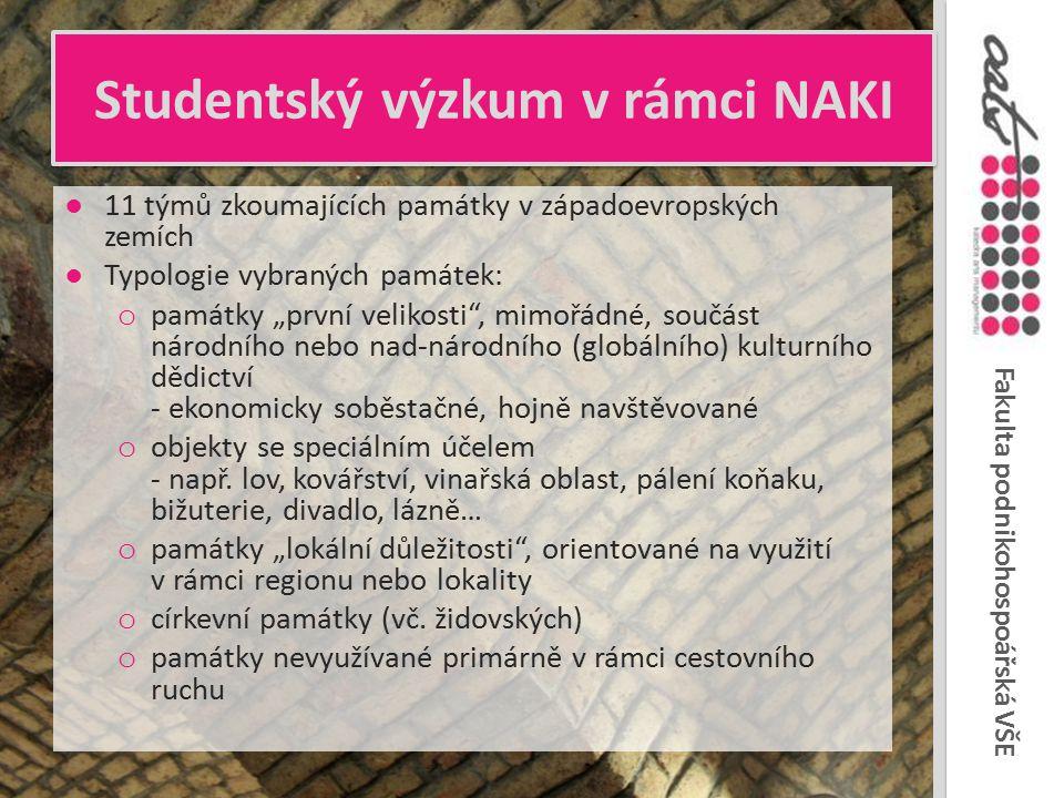 Fakulta podnikohospoářská VŠE Studentský výzkum v rámci NAKI ●11 týmů zkoumajících památky v západoevropských zemích ●Typologie vybraných památek: o p