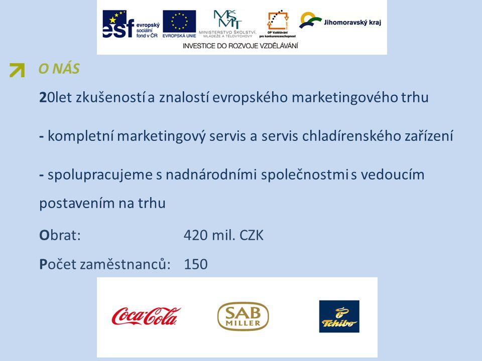 20let zkušeností a znalostí evropského marketingového trhu - kompletní marketingový servis a servis chladírenského zařízení - spolupracujeme s nadnárodními společnostmi s vedoucím postavením na trhu Obrat: 420 mil.